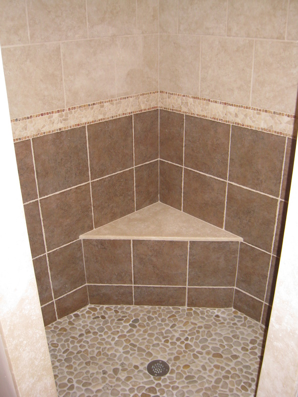 Master shower with seat