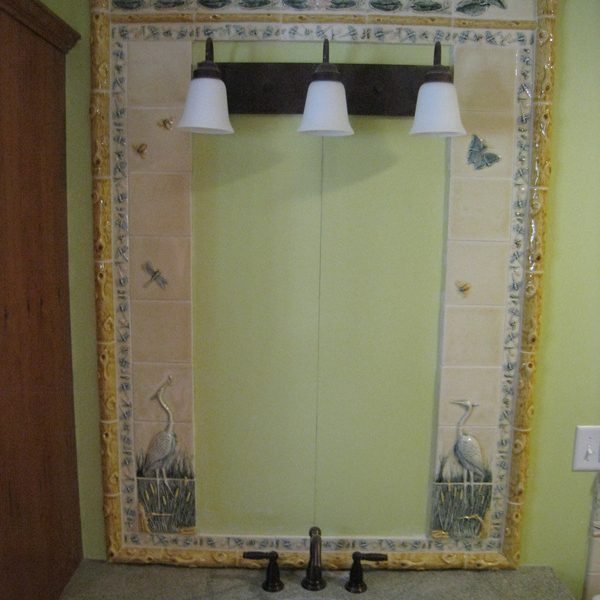 Bathroom mirror custom tile frame – birds