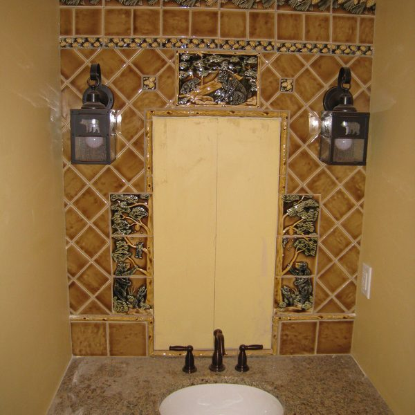 Bathroom mirror custom tile frame – bears