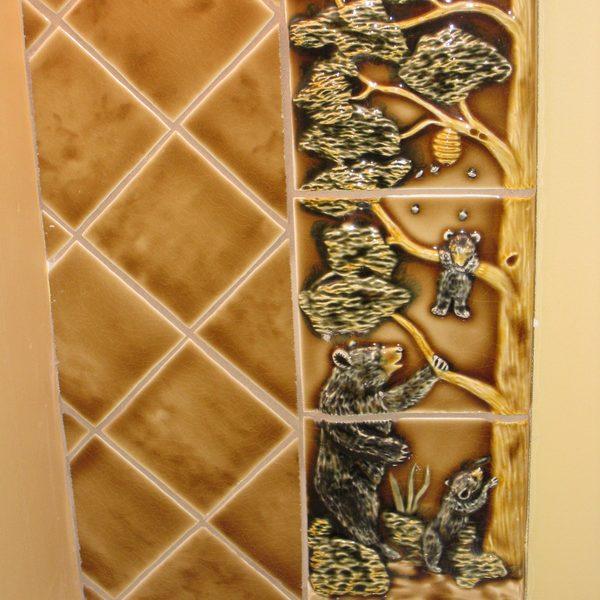 Bathroom mirror custom tile frame – bears detail