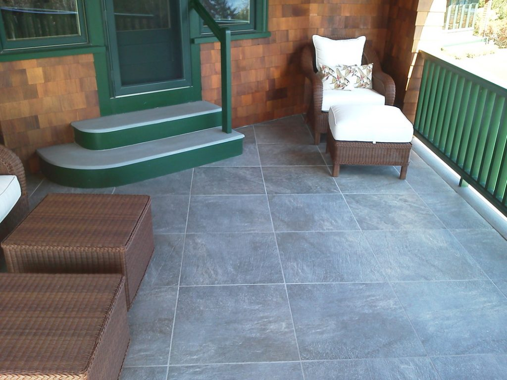 Back Porch Stairs and large tile patio