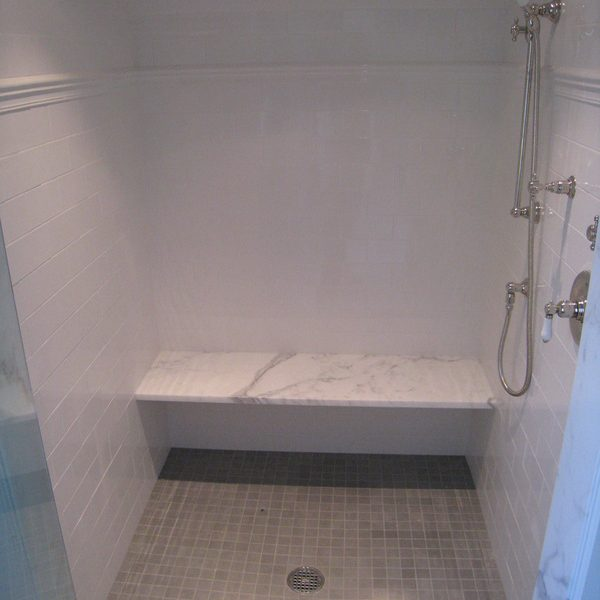 Shower marble seat and tile