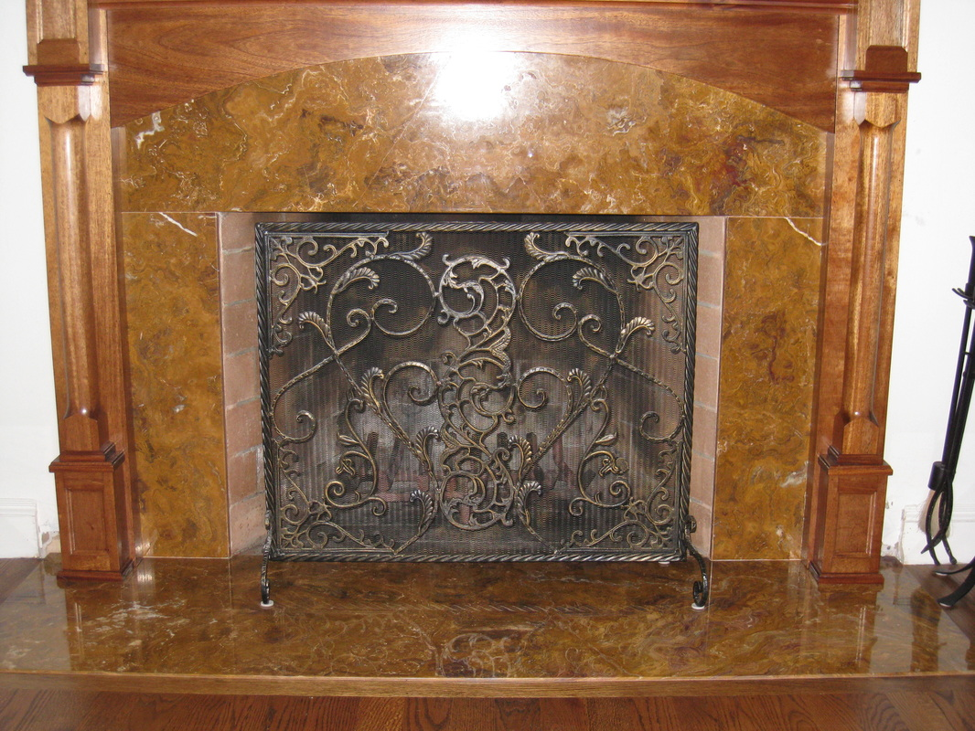 Fireplace with ornate facade