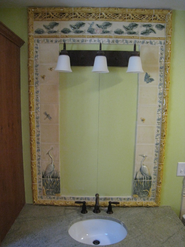Bathroom mirror custom tile frame – birds