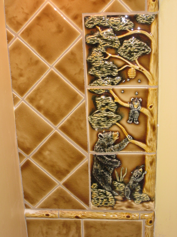Bathroom mirror custom tile frame – bears detail