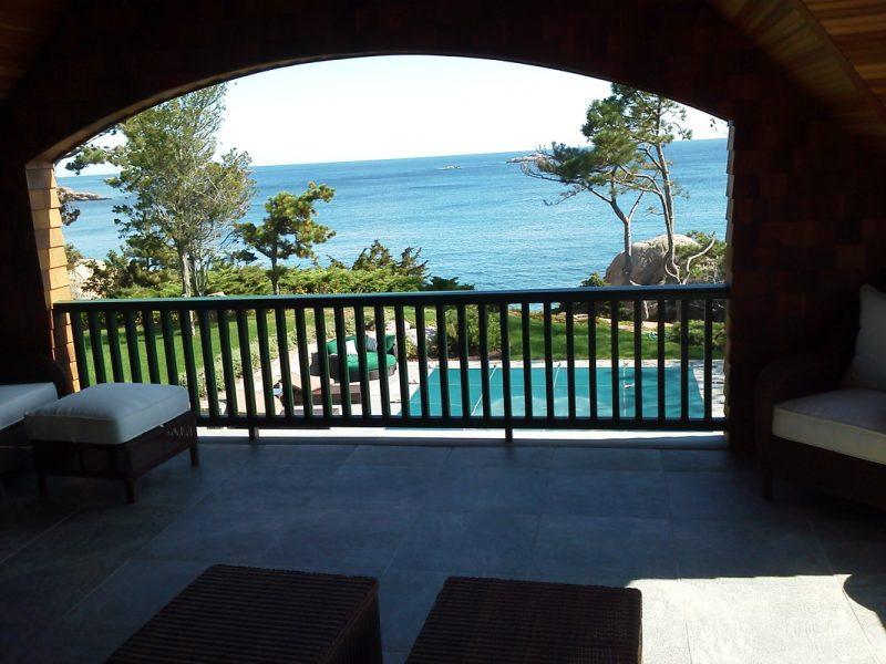 Large tile patio view
