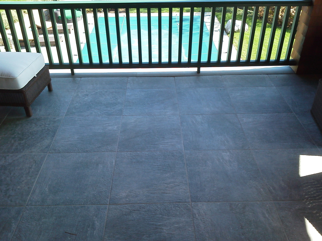 Large tile patio detail